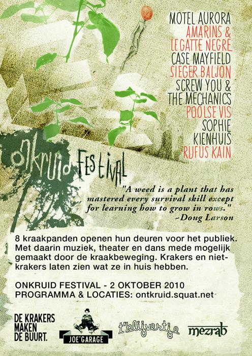 Flyerachterkant Onkruid Festival Amsterdam-Oost