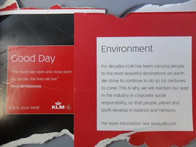 Omschrijving doos maaltijdpakket KLM